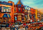 Montreal Neighborhoods Painting Framed Prints - Fairmount Bagel With Hockey Framed Print by Carole Spandau