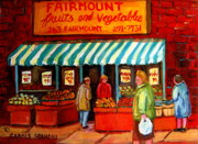 Montreal Storefronts Paintings - Fairmount Fruit And Vegetables by Carole Spandau