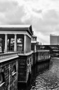 Philadelphia Digital Art Prints - Fairmount Water Works in Black and White Print by Bill Cannon