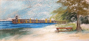Ohio Pastels Prints - Fairport Harbor Pier Print by Lisa Urankar