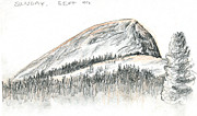 Yosemite Drawings - Fairview Dome by Logan Parsons