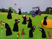 Nuns Painting Prints - Fairway to Heaven Print by Anni Morris