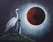 White Birds Posters - Fairy and Egret Fantasy Art by Shawna Erback Night With The Great Egre Poster by Shawna Erback