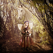Dreaming Away Posters - Fairy and Unicorn Poster by Cindy Singleton
