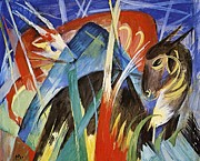 Expressionist Paintings - Fairy Animals by Franz Marc