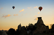 Chimneys Photo Framed Prints - Fairy chimneys and balloons Framed Print by RicardMN Photography