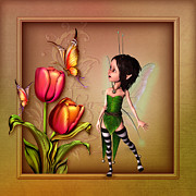 Fairy Art For Sale Framed Prints - Fairy Drawing  Framed Print by John Junek