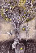 Fairy Drawings - Fairy Harvest by Ladka Fruehaufova Prague Art