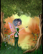Fairy Art For Sale Prints - Fairy in the enchanted forest Print by John Junek