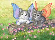 Ann Gates Fiser Art - Fairy Kittens by Ann Gates Fiser