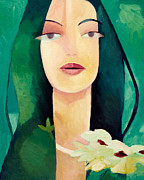 Woman Artwork Painting Framed Prints - Fairy Framed Print by Lutz Baar