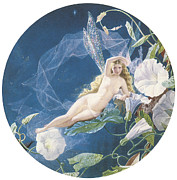 Morning Glories Paintings - Fairy Lying on a Leaf by John Simmons