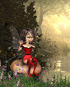 Fairy Art For Sale Prints - Fairy playing the flute Print by John Junek