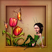 Fairy Art For Sale Prints - Fairy sitting in the garden Print by John Junek