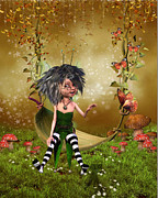 Fairy Art For Sale Prints - Fairy sitting on a swing Print by John Junek