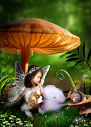 Toadstools Art - Fairy Woodland by Julie L Hoddinott