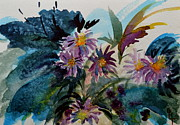 Aster Paintings - Fairyland Asters by Beverley Harper Tinsley