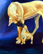 Great Dane Portrait Posters - Faith and Hope Great Dane Poster by Lyn Cook
