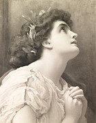 Brunette Prints - Faith Print by Frederic Leighton