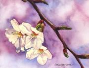 Cherry Blossom Painting Prints - Faith Hope and Love Print by Casey Rasmussen White