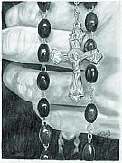 Rosary Drawings Posters - Faith Poster by Jason McRoberts