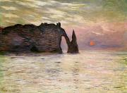 Water Reflecting At Sunset Posters - Falaise dEtretat Poster by Claude Monet