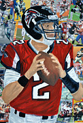 Nfl Mixed Media Originals - Falcons Quater Back by Michael Lee