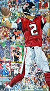 Major League Mixed Media Prints - Falcons Quaterback Print by Michael Lee