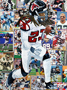 League Painting Prints - Falcons Running Back Print by Michael Lee