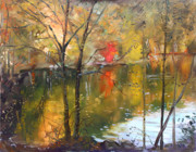 Autumn Landscape Painting Framed Prints - Fall 2009 Framed Print by Ylli Haruni