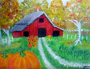 Pumpkins Paintings - Fall and Pumpkin Harvest by Donna Jenkins