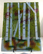 Landscapes Glass Art Originals - Fall Aspens by Lisa Kohn