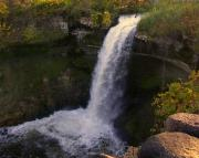 Fall At Minnehaha Falls Print by Tom Reynen