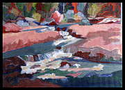 Slide Painting Prints - Fall at Slide Rock II Print by Betty Pieper
