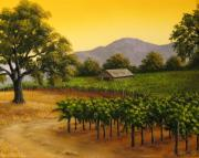 Napa Valley Vineyard Paintings - Fall at Sunset by Patrick ORourke