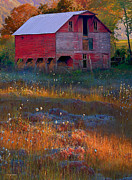 Fall Colors Digital Art Prints - Fall Barn Print by Ron Jones