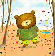 Kids Books Posters - Fall Bear Poster by Scott Nelson
