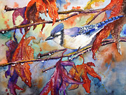 Bluejay Painting Metal Prints - Fall Blue jay Metal Print by Priti Lathia