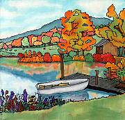 Fall Leaves Tapestries - Textiles Framed Prints - Fall Boat and Dock Framed Print by Linda Marcille