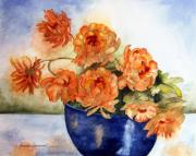 Mums Paintings - Fall Bouquet by Rosalea Greenwood