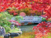 Reflections Digital Art Framed Prints - Fall Bridge in Manito Park - Impressionistic Framed Print by Carol Groenen