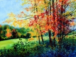 Original Fall Landscape Paintings - Fall Color by Hanne Lore Koehler