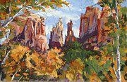 Sedona Pastels Prints - Fall colors at Cathedral Rock Print by Patricia Rose Ford