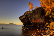 Aboriginal Framed Prints - Fall Colours in the Squaw Bay Fallen Rock Framed Print by Jakub Sisak