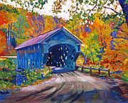 Beautiful Scenery Paintings - Fall Comes to Downer Vermont by David Lloyd Glover