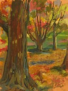 Autumn Landscape Drawings Framed Prints - Fall Comes to Prospect Park Framed Print by Linda Berkowitz