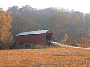 Myeress Posters - Fall Covered Bridge Poster by Joe Myeress