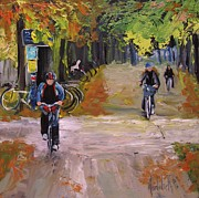 Bicycles Paintings - Fall Cycling by Barbara Andolsek