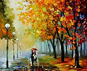 Path Painting Originals - Fall Drizzle by Leonid Afremov