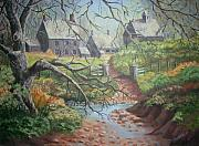 Old Barns Paintings - Fall  English Farmhouse by Nora Niles